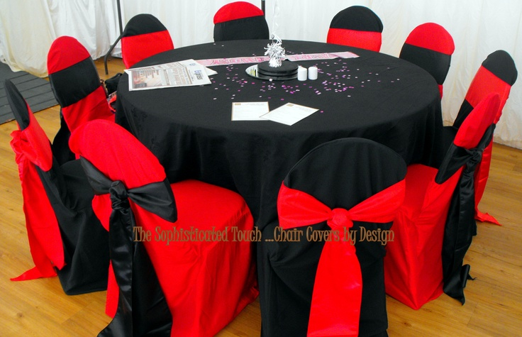 Red and Black Alternating Chair Covers with Red and Black Satin Cravat Sashes The Sophisticated Touch ...Chair Covers by Design