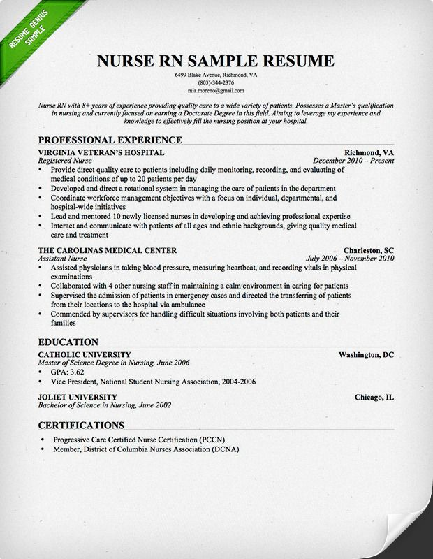 Nurse RN Resume Sample | Download this resume sample to use as a template for writing your own resume! Free resource from resumegenius.com