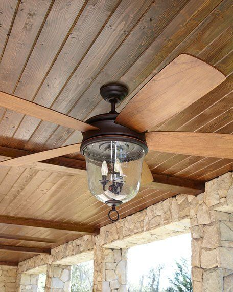 Indoor/outdoor ceiling fan made of glass, steel, and wood. Intergral light kit shaded with clear seeded glass. Dual remote controls, one hand held and one wall mounted. Standard fan-ball hanger system