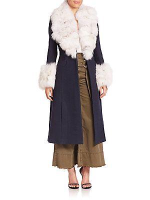 Cinq à Sept Delia Fox Fur-Trim Wrap Coat - Navy-Silver
