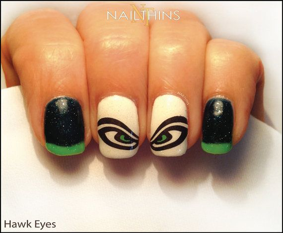 You will receive 20 of the Hawk Eye Nail Decals for your nails!! We also have Number 12s style NAILTHINS as pictured in the second photo.  Approx. 10mm