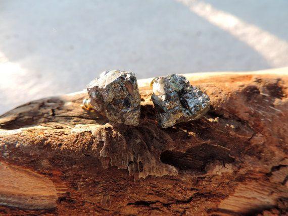 Pyrite stud earings by twinflowersjewelry on Etsy