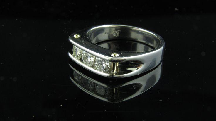 Men's 3 stone diamond ring. #righthandring #mensrings #threestonering