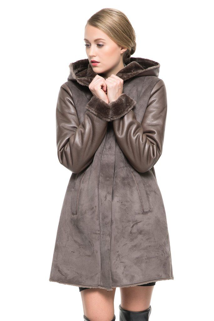 FAUX SUEDE COAT CRAFTED WITH LUSH REX RABBIT FAUX FUR .