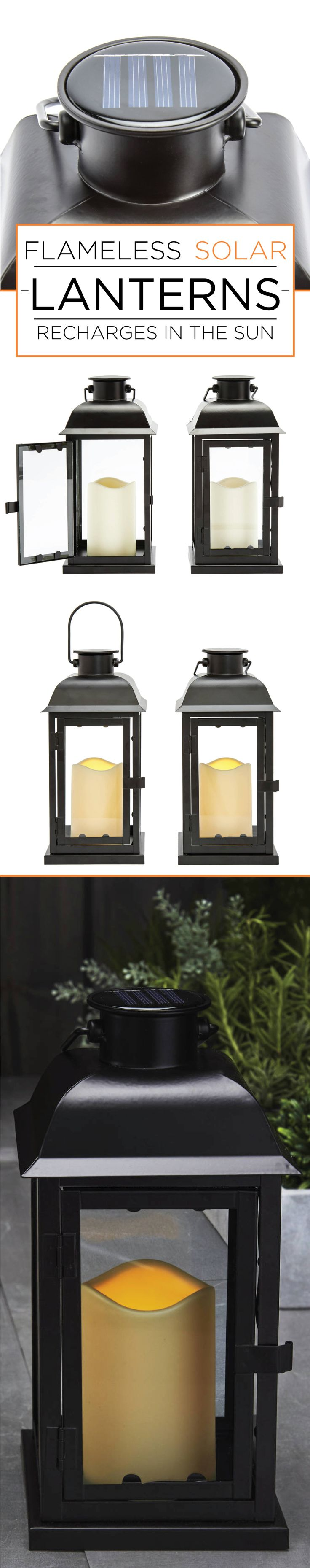 Add ambiance to your outdoor space with beautiful metal framed solar lanterns. These lanterns are flameless and create a pleasant flickering glimmer like a real candle. Set them in your backyard garden or spruce up your patio table with these Solar 11'' Black Metal Flameless Lantern, set of two by Lights.com
