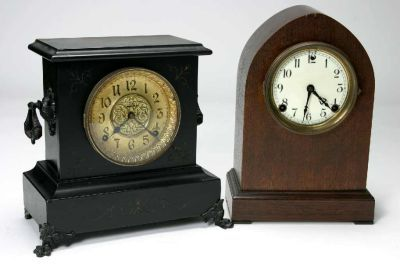 Two Clocks. E. Ingraham Clock Co. Rival Eight Day Time and Strike Mantle Clock and Sessions 8 day time and strike with (01/27/2007)