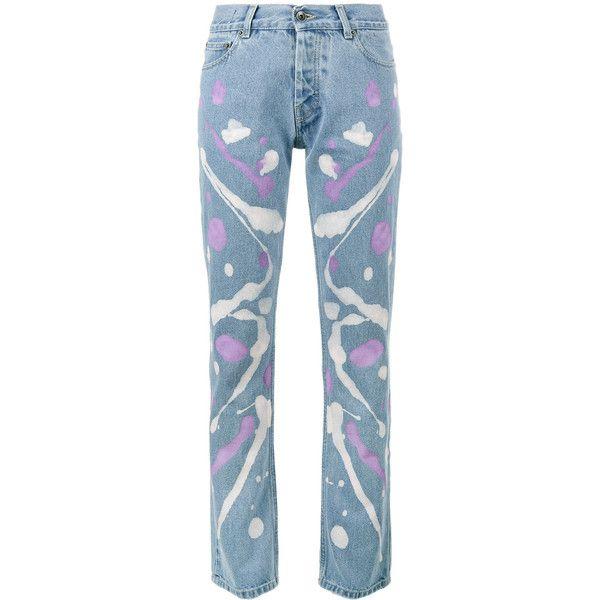Mirco Gaspari Light blue 501 paint splattered jeans ($345) ❤ liked on Polyvore featuring jeans, blue, blue jeans, paint splatter jeans and light blue jeans
