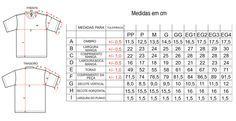Tabela Tamanhos/Medgola carecaidas Camiseta Gola Careca
