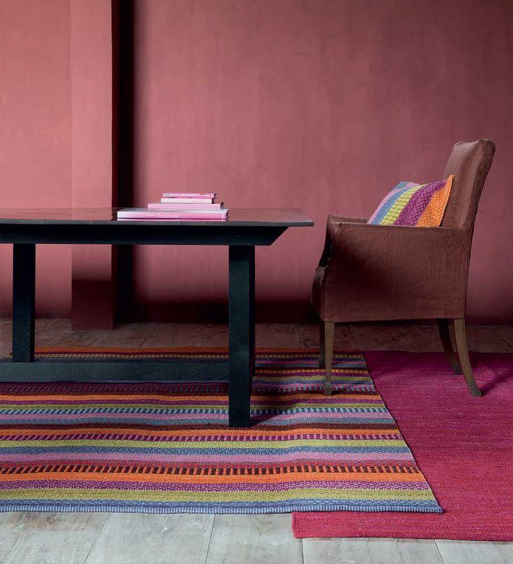 Tapis rayé prestige multicolore couleurs vives fait main, 100% laine par Ligne Pure  #tapis #déco #multicolore #rayé