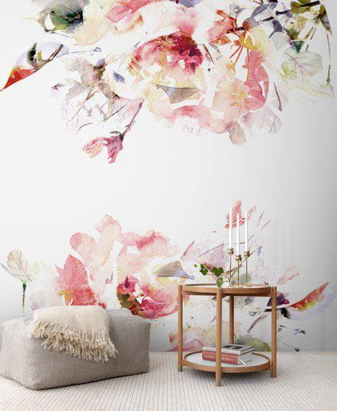 Papel pintado - Fotomural acuarela Flores - pégalo   despégalo - hecho a mano por coloray en DaWanda