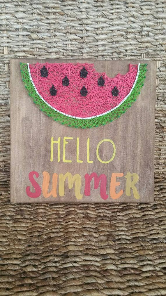 Check out this item in my Etsy shop https://www.etsy.com/listing/386900560/hello-summer-string-art-sign-watermelon