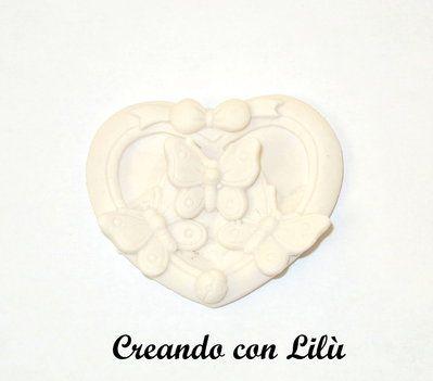 gessetto profumato cuore con farfalle 3d 4cm