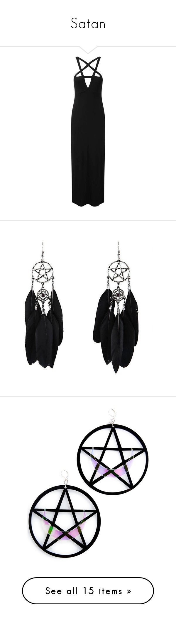 """Satan"" by ghost-zenith ❤ liked on Polyvore featuring jewelry, earrings, accessories, gem earrings, fishhook earrings, hot topic, fish hook jewelry, gem jewelry, black and joias"
