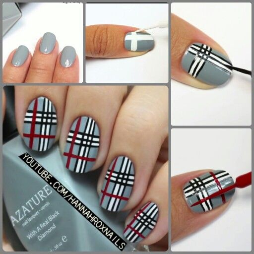 Hannah Rox Nails. Black, White, Red & Gray Plaid Nail art tutorial