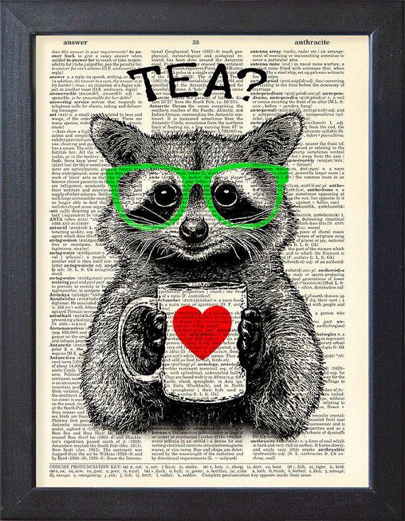 Raton laveur imprime, thé time, dictionnaire imprimé, poster art, tasse de thé, pages de livre, décor de dortoir, poster cadeau, décoration murale, CODE/172