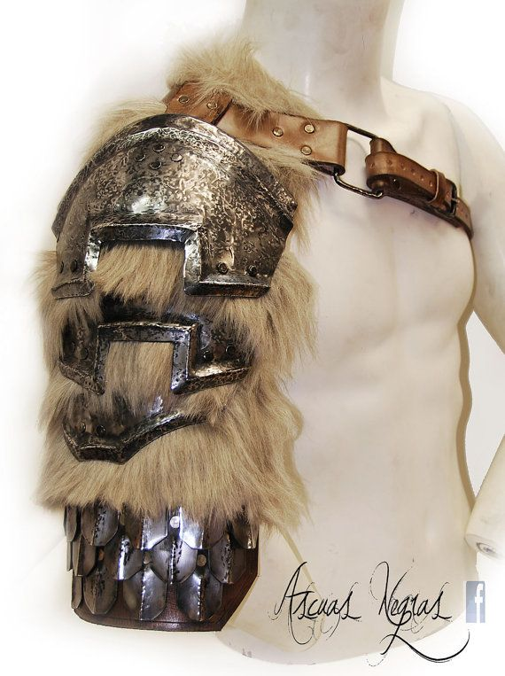 Nordic fantasy steel and leather shoulder armor with scalemails. Skyrim armor. Barbarian Style. Tribal armor. Larp Party Costume.