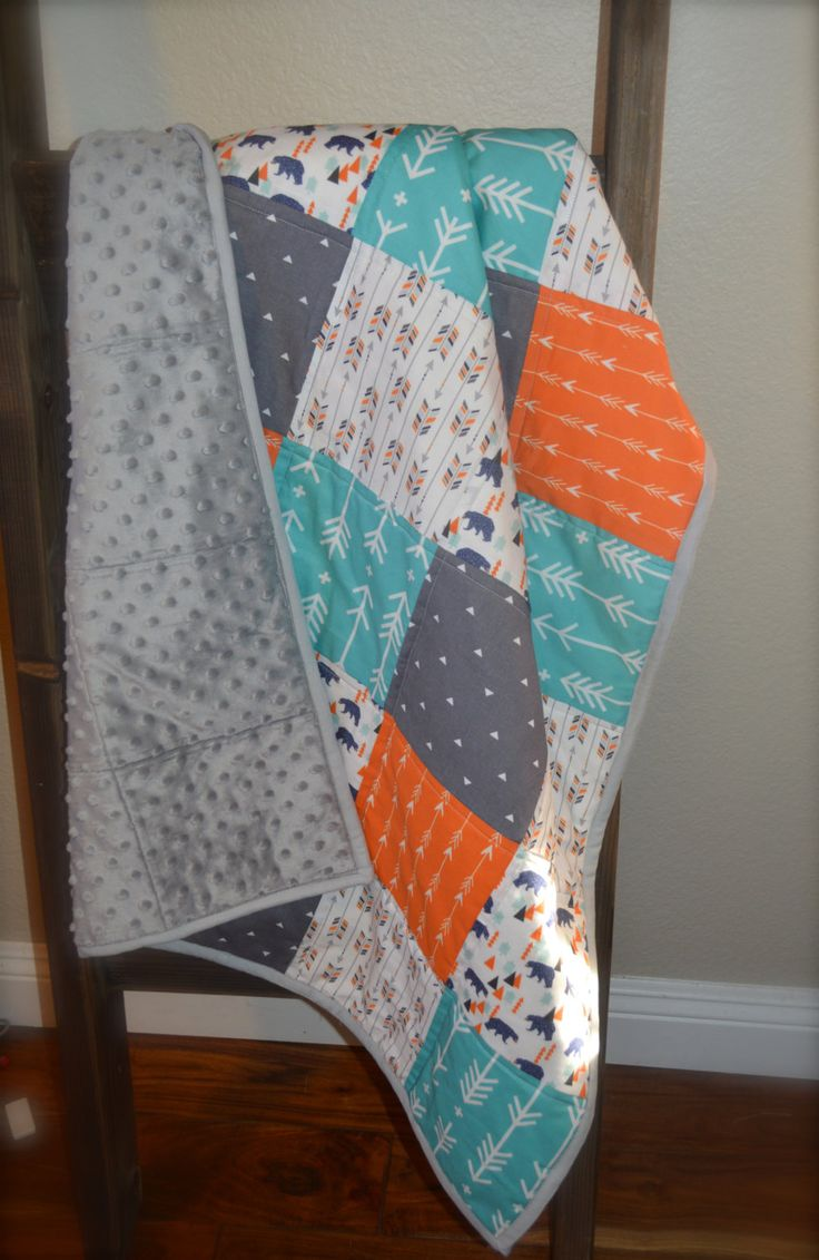 Orange, Gray and Teal Arrow Baby Quilt / Tribal / Bear Crib Quilt / Nursery Bedding by MadeWithLoveBedding on Etsy
