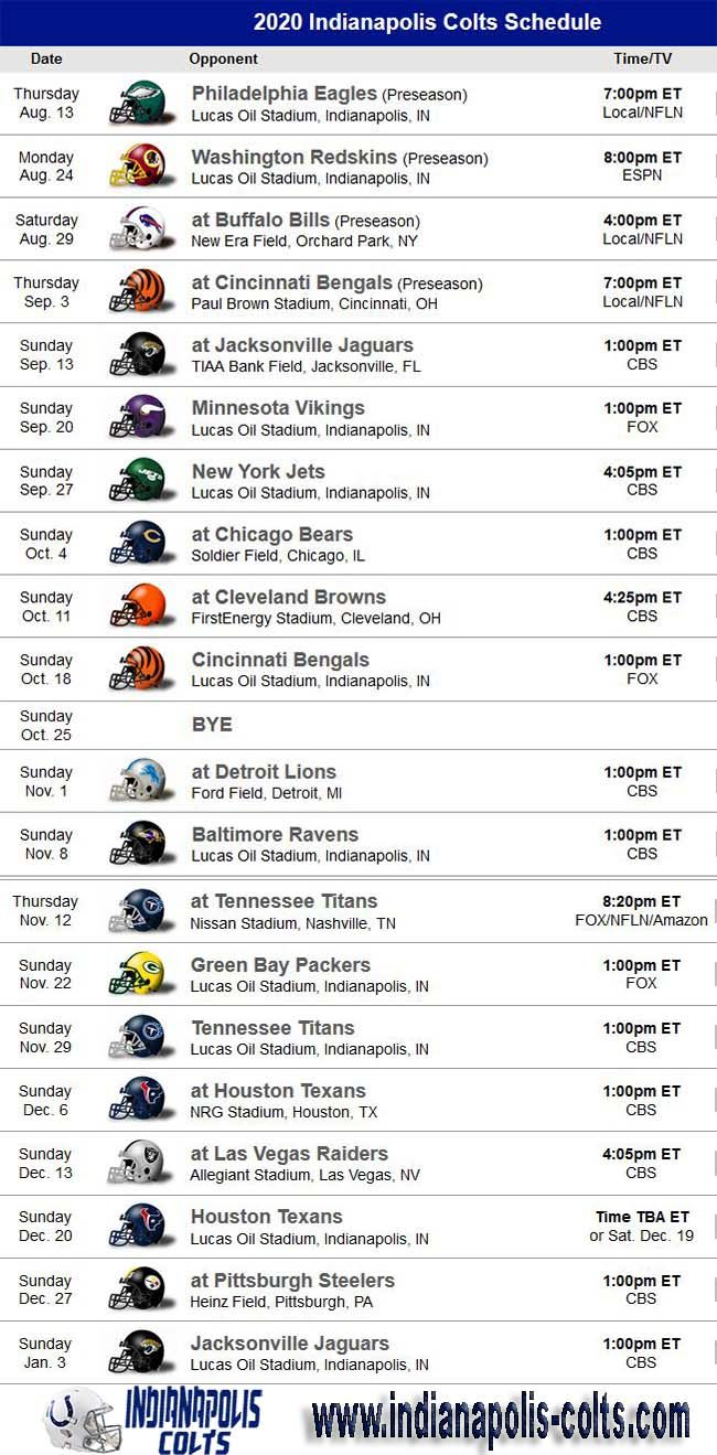 Pin By Nfl Football On Nfl Schedule In 2020 Nfl Game Schedule Colts Schedule Indianapolis Colts Football