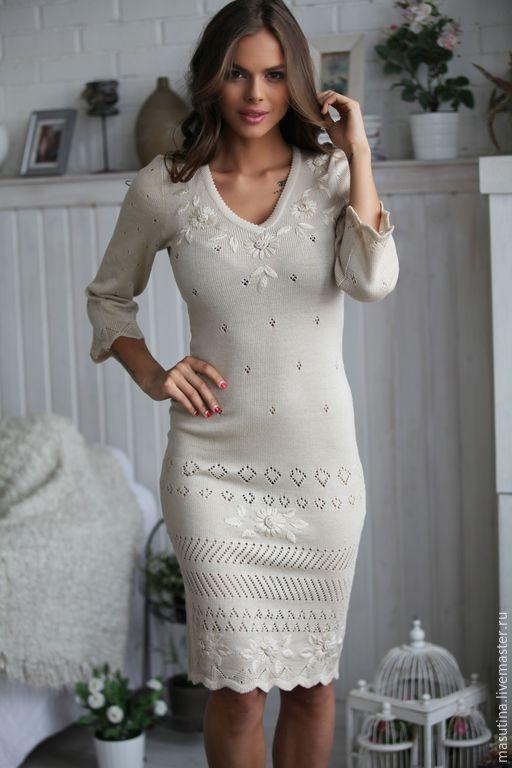 """Купить Платье """"Hand-made"""" - бежевый, цветочный, вязаное платье, платье с вышивкой, сшить платье"""