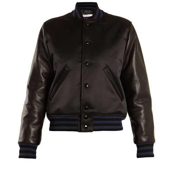 Givenchy Stripe-trimmed satin and leather bomber jacket ($2,995) ❤ liked on Polyvore featuring outerwear, jackets, black, striped leather jacket, stripe jacket, real leather jackets, leather jackets and flight jackets