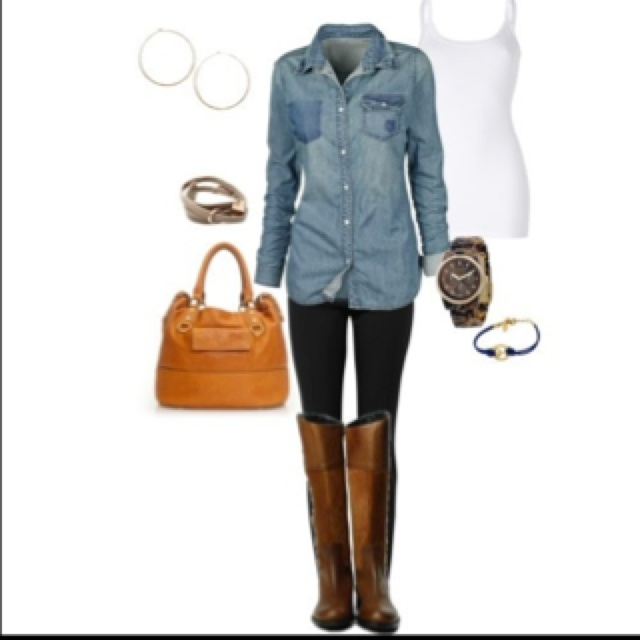 Denim/chambray shirt white tank black leggings or skinny jeans tall brown boots | Shoes ...