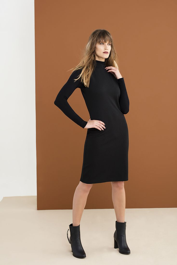 The layered Polo neck, pair with a bodycon dress or pinafore with ankle boots.