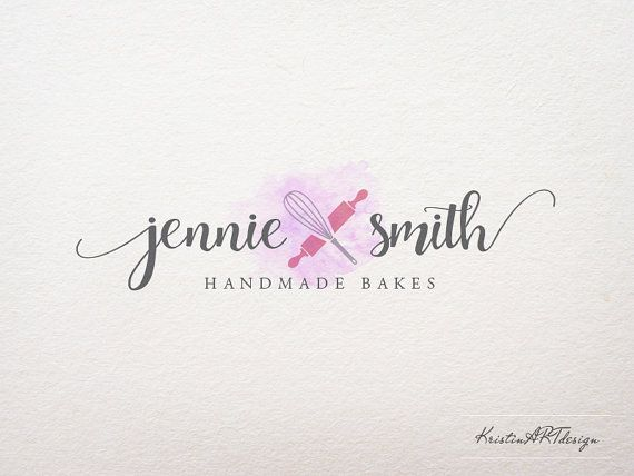 Bakery logo Handmade sweets logo design Pink by KristinARTdesign                                                                                                                                                                                 More