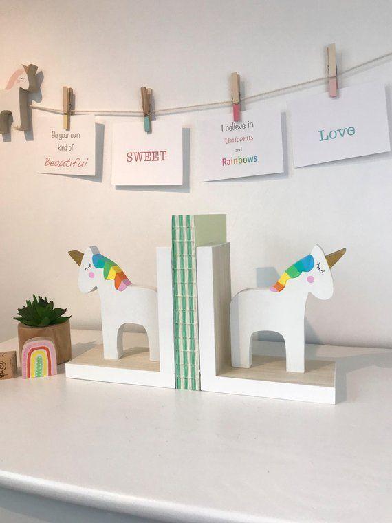 Rainbow Unicorn Bookends Children Bookends Unicorn Room