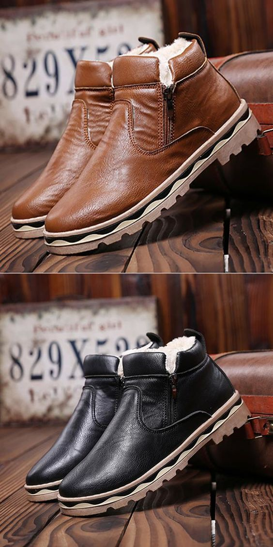 US$24.35#Side Zipper British Style Waterproof Warm Plush Lining Ankle Boots For Men