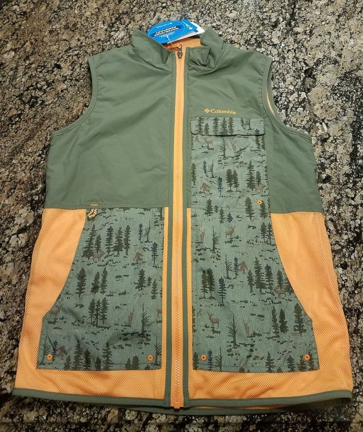 Columbia Sportswear Company Youth XL Orange Camo Kids Vest Water Wind Resistant  #Columbia #Vest