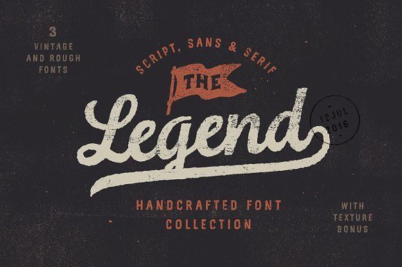 The Legend Font trio + texture bonus by Andrey Sharonov on @creativemarket