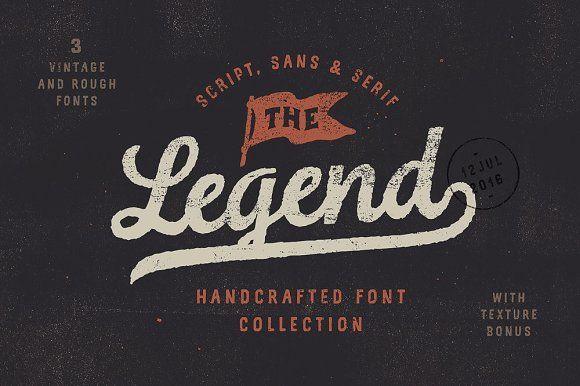 The Legend Font trio + texture bonus by Andrey Sharonov on @creativemarket