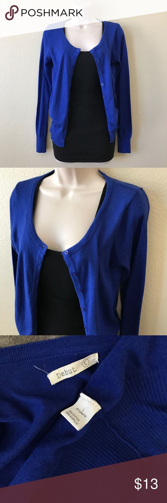 Royal Blue Cardigan Excellent used condition, like new! True to color. Lightweight. Office attire. Spring. Cotton/acrylic. Debut Sweaters Cardigans