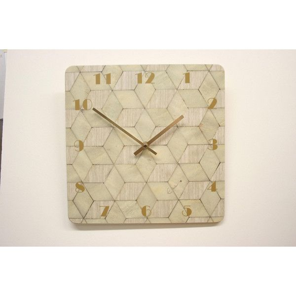 Ivory Wall Clock Large Art Deco Wall Clock Birthday Gift Her Melamine... ($38) ❤ liked on Polyvore featuring home, home decor, clocks, square wall clock, battery operated clocks, battery operated wall clocks, battery powered clock and cream wall clock