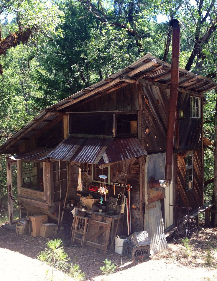 Cabin built from salvaged materials in the Trinity Alps, California.