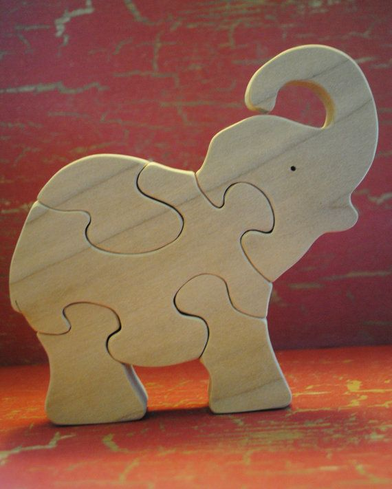 Handmade Wooden Baby Elephant Childrens Puzzle by WoodnWords, $13.00