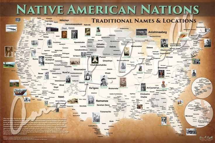 United States - Native American Nations Map - Native Names Only