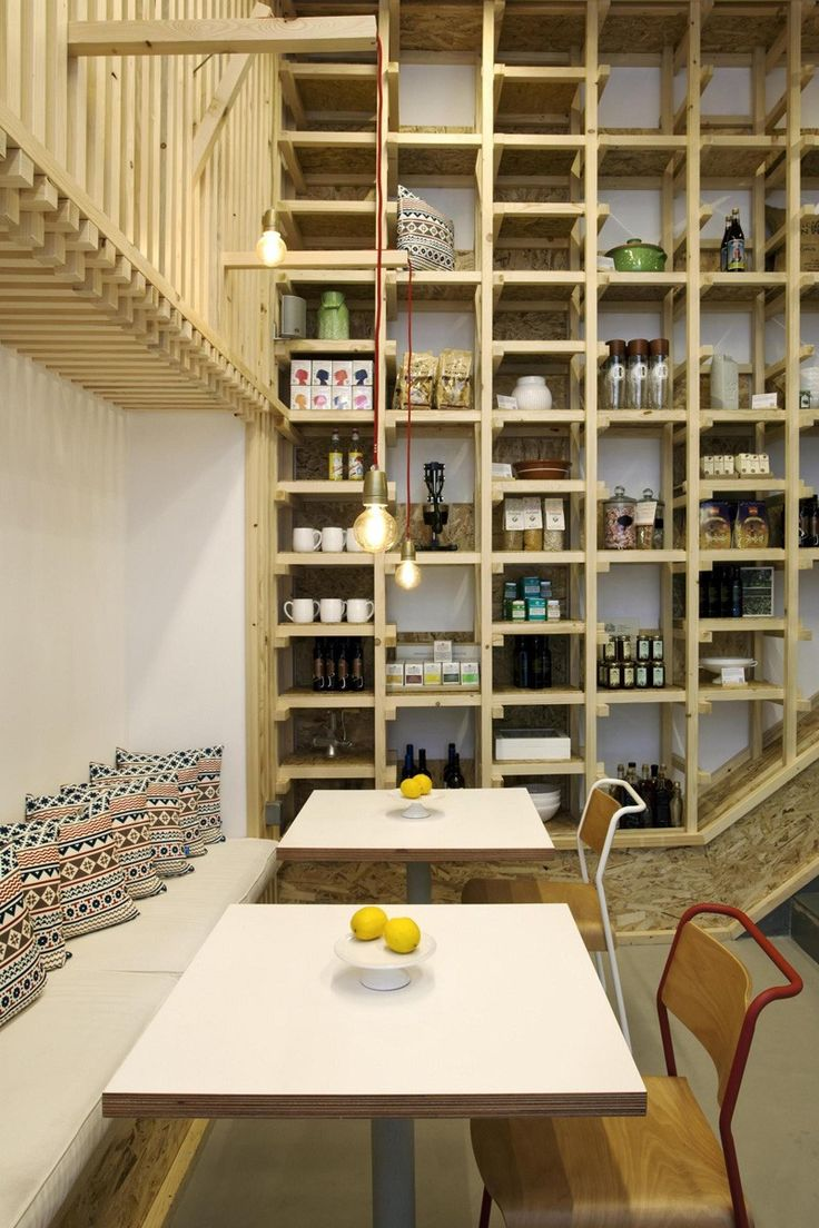 A Cafe Designed To Look Like The Inside Of A Packaging Crate