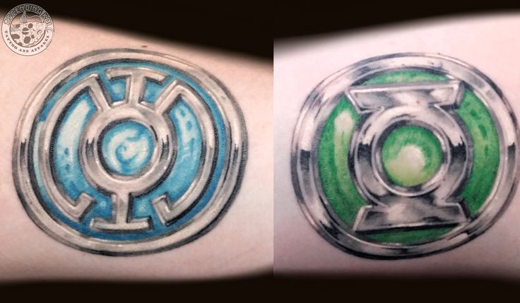 Blue and Green Lantern rings done by Rob Sweet #ascendingkoi #tattoos #dccomics #comicbooks #greenlantern #geek
