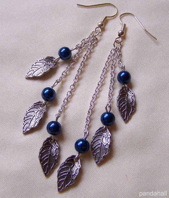 Tibetan style leaf dangle earrings made by Radka Bílková from LC.Pandahall.com…