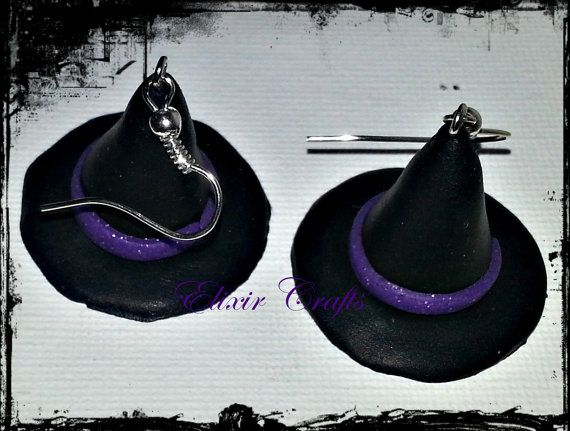 Halloween Witch Hat Earrings Black Witch Hat by ElixirCraftsGr, €3.20