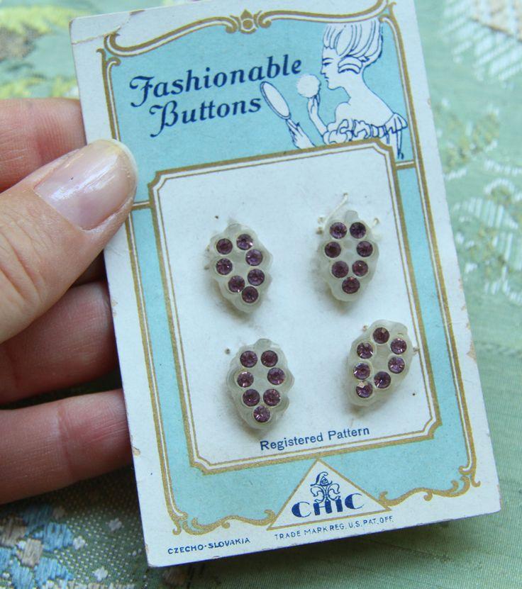 ButtonArtMuseum.com - Antique Tiny Rhinestone Button ON Card Tiny Glass Grapes Flapper Dress Doll Trim