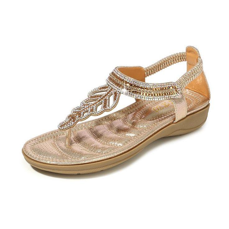 2019 New Leaf Crystal Women Sandals Summer Beach Sandals Flip Flops Bohemian Women Shoes Fashion Beaded Flat Sandals