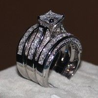 Wish | 2016 Women Fashion jewelry 3-in-1 Engagement Wedding band Ring Set Princess cut 10ct Cz Diamond ring 14KT White Gold Filled Party Finger ring