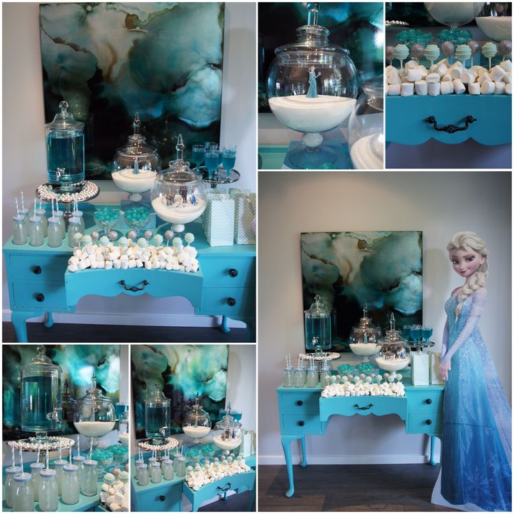 Our FROZEN party table design & setup by The Simple Party Cake pops by Sugarpopbakery Prop hire Elegantteatime