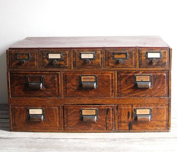 Vintage Wooden Storage Unit: Fake Wood, Drawer Unit, Vintage, Metals, Card Catalog, Storage Units