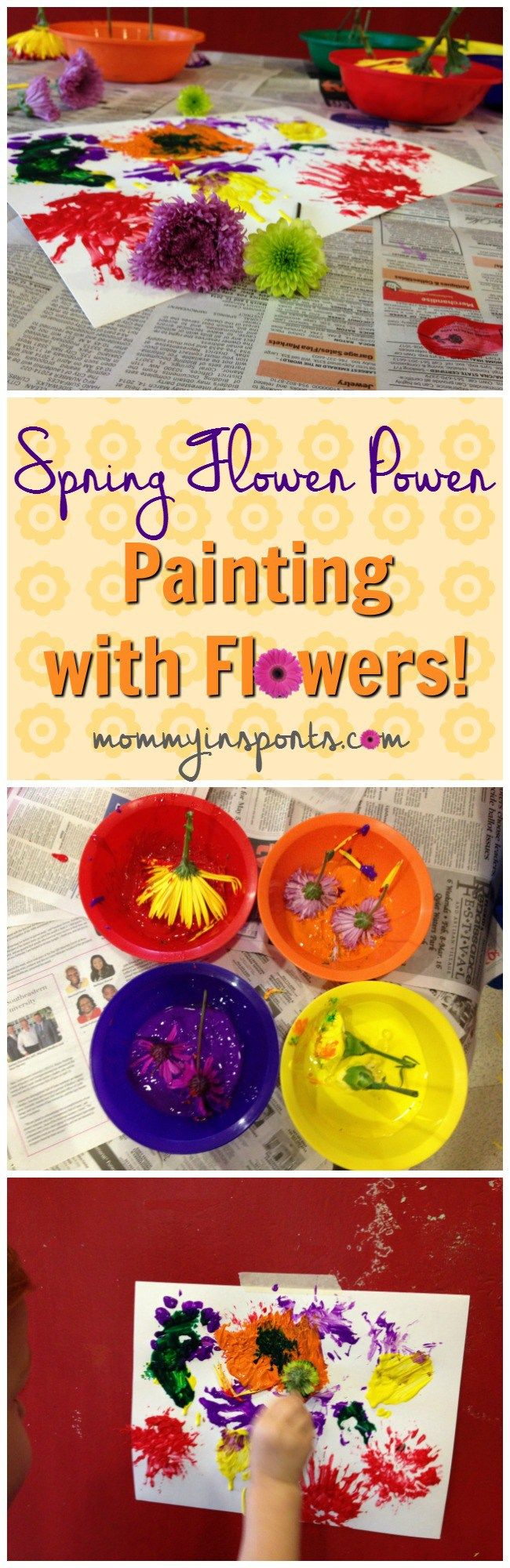 Looking for some fun ways to bring spring to your home? Why not paint with flowers? A fun craft for kids! Check out all of these Spring Flower Power Ideas!