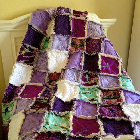 Rag Quilt Purple Lavender Aqua Throw Christmas Girl by CottageDome