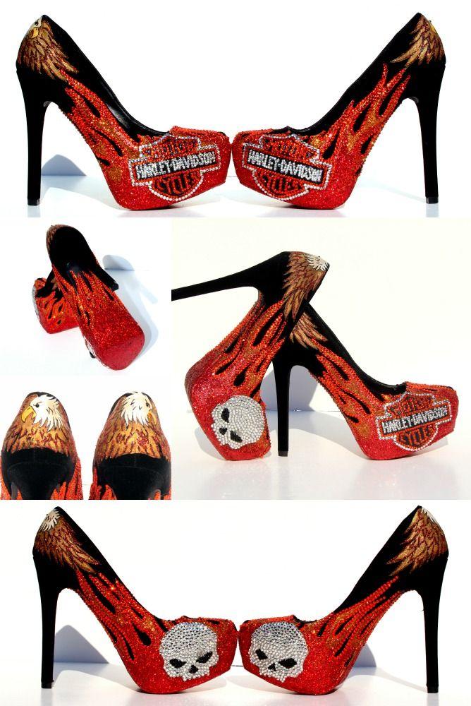 4b894e904 Harley Davidson Heels with Orange Flames