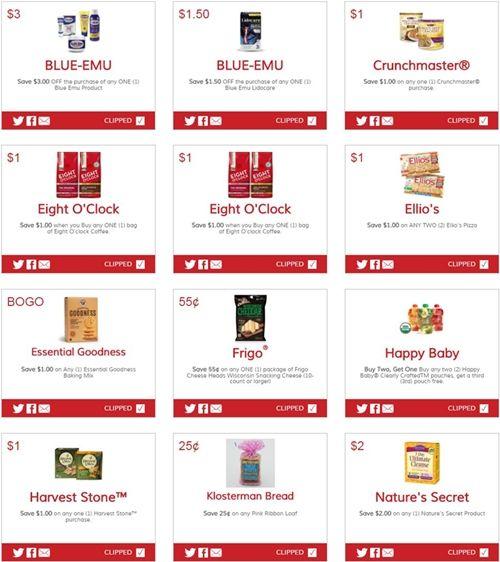 $3 OFF Blue Emu    $1.50 OFF Blue Emu Lidocare    $1 off Crunchmaster®    $1 off Eight O'clock Coffee    $1 off Eight O'clock Coffee  ...